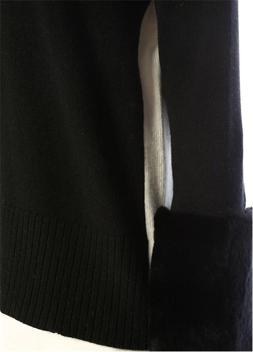 Siyah Beyaz Balıkçı Yaka Bloklu Uzun Kazak