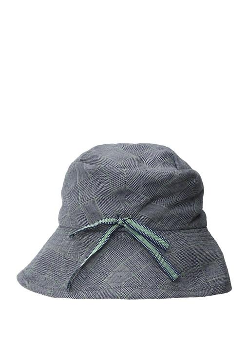 Lacivert Ekose Desenli Erkek Keten Şapka
