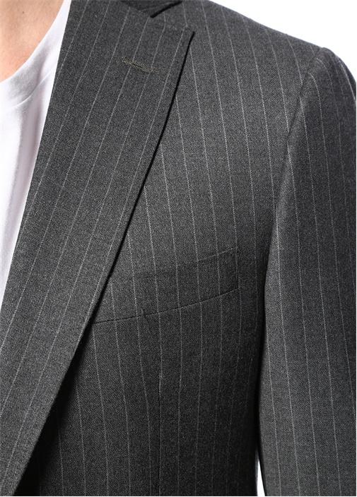 Drop 7 Gri Kelebek Yaka Çizgili Yün Takım Elbise