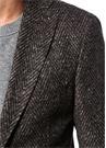 Drop 7 Kahverengi Balıksırtı Dokulu Soft Ceket
