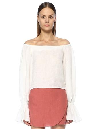 Beyaz Omzu Açık Balon Kol Keten Bluz