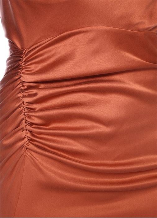 Mercan Degaje Yaka Maksi İpek Abiye Elbise