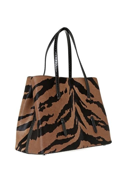 Mina Medium Zebra Desenli Kadın Deri Omuz Çantası