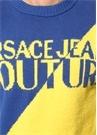 Mavi Sarı Örgü Dokulu Logo Jakarlı Kazak