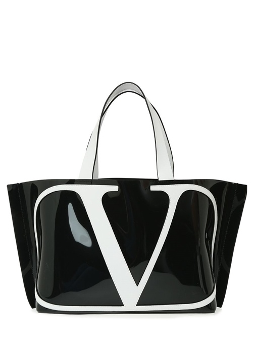 Vring Siyah Beyaz Logolu Alışveriş Çantası