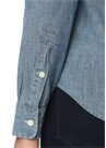Slim Fit Mavi İngiliz Yaka Denim Gömlek