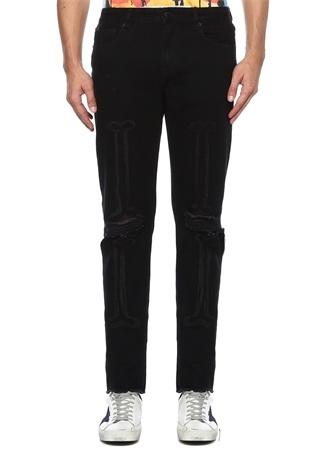 Found My Legz Siyah Yıpratmalı Jean Pantolon