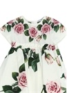 Beyaz Çiçek Baskılı Kız Bebek Elbise