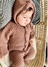 Kahverengi Kapüşonlu Organik Pamuk Bebek Tulum