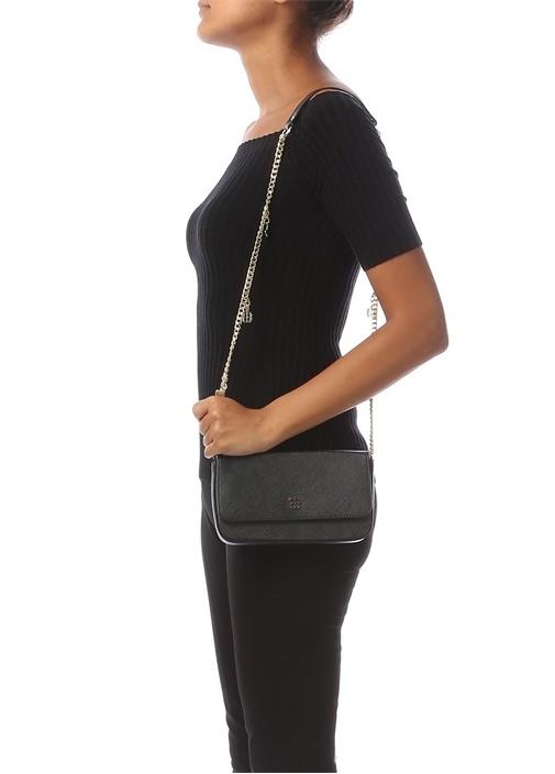 Carmen Siyah Logolu Kadın Çanta