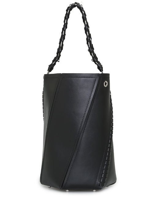 Hex Siyah Silver Zincirli Kadın Deri Çanta