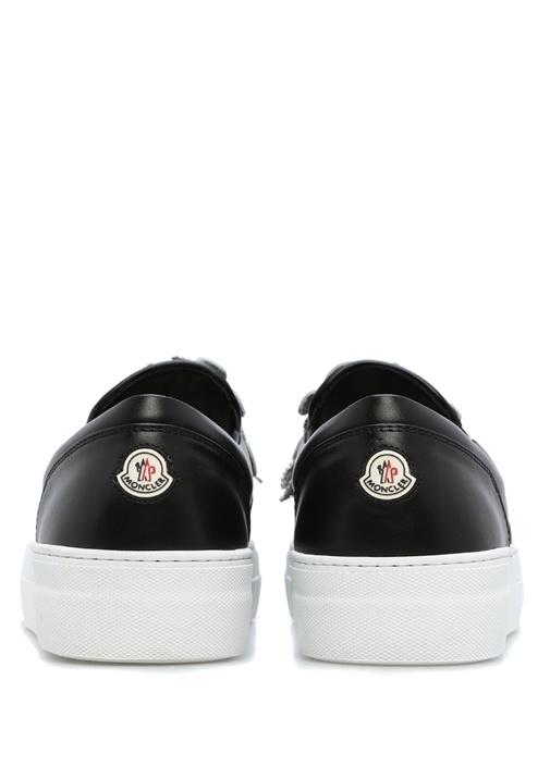 Siyah-Beyaz Deri Kadın Sneaker