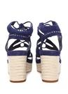Lacivert Katila Deri Dolgu Topuklu Kadın Sandalet