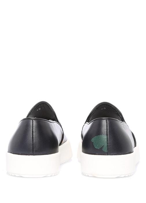 Siyah Bağcıksız Çiçek Baskılı Kadın Sneaker