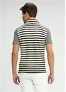 Slim Fit Polo Yaka Lacivert Beyaz Çizgili Tshirt
