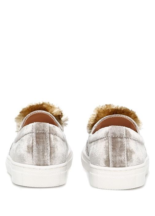 Gri Ponpon Detaylı Kız Çocuk Sneaker