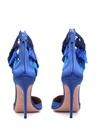 Lou Lou Mavi Püsküllü Saten Topuklu Ayakkabı