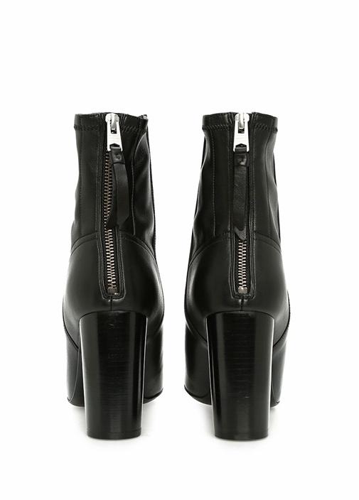 Siyah Nuri Topuklu Deri Kadın Bot