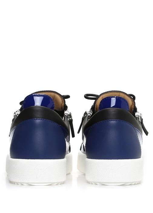 SiyahLacivert Fermuarlı Deri Erkek Sneaker