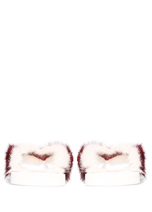 Beyaz Kırmızı Tüy Detaylı Kadın Deri Terlik