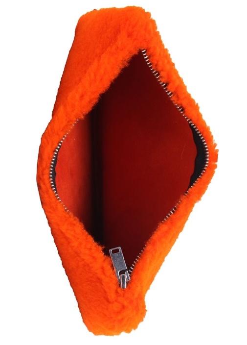 Turuncu Shearling Detaylı Kadın Deri Çanta