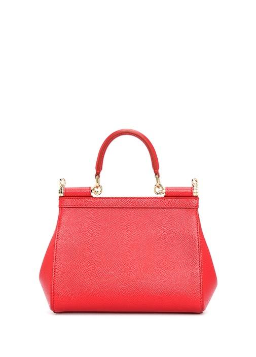 Sicily Kırmızı Gold Logolu Kadın Deri Çanta