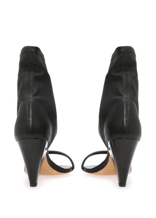 Melvy Sock Siyah Deri Topuklu Ayakkabı