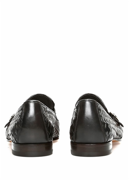 Kahverengi Dokulu Çift Kemerli Erkek Deri Loafer