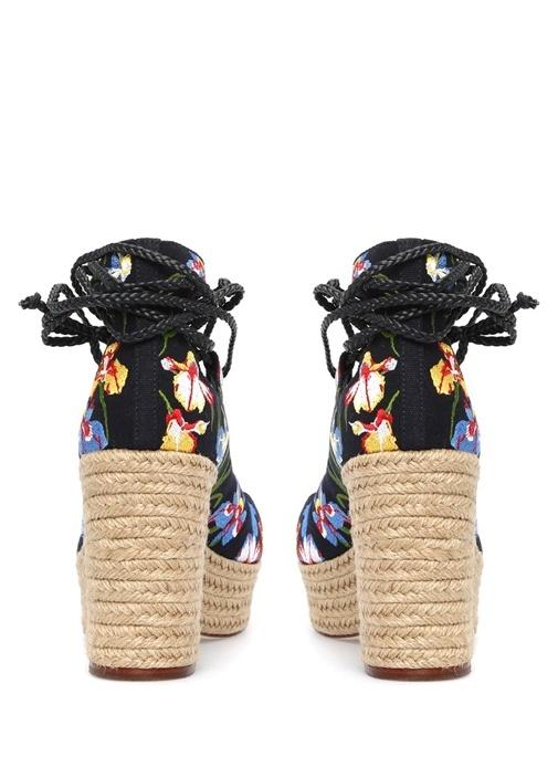 Positano Lacivert Çiçek İşlemeli Kadın Sandalet