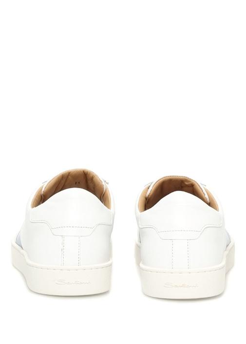 Beyaz-Mavi Deri Erkek Sneaker