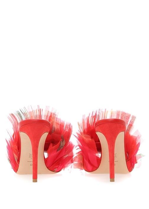 Kırmızı Tül Detaylı Deri Gece Ayakkabısı