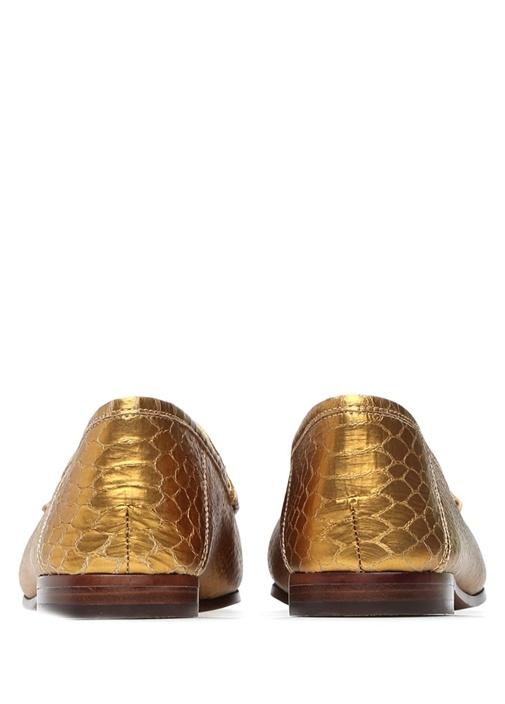Loraine Gold Krokodil Desenli Kadın Loafer