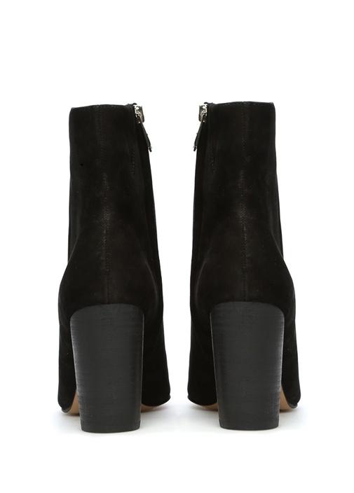 Siyah Corra Topuklu Deri Kadın Bot