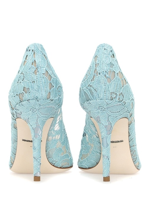 The Rainbow Lace Mavi Taşlı Topuklu Ayakkabı