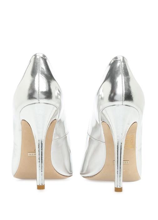 Gri Deri Topuklu Ayakkabı