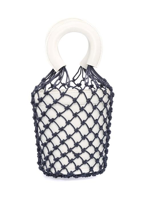 Mareau Beyaz Mavi File Detaylı Kadın Deri Çanta