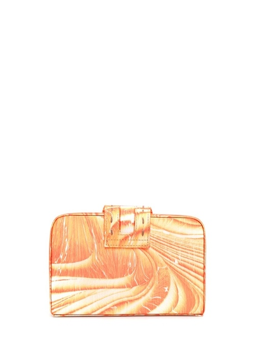 Fey Evening Turuncu Beyaz Ebru Desenli El Çantası