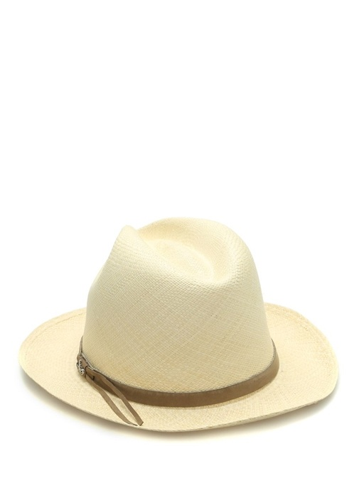 Stone Bej Bantlı Örgü Dokulu Erkek Hasır Şapka