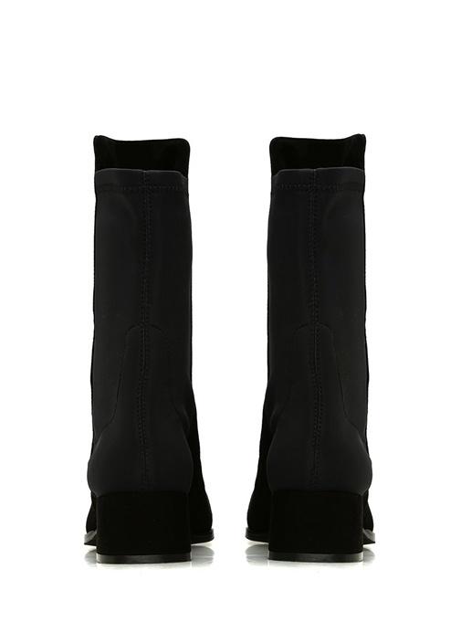 Siyah Kumaş Detaylı Kadın Deri Bot
