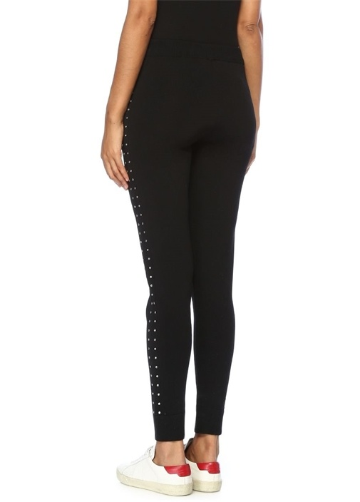 Siyah Yüksek Bel Yanları Taşlı Dar Triko Pantolon