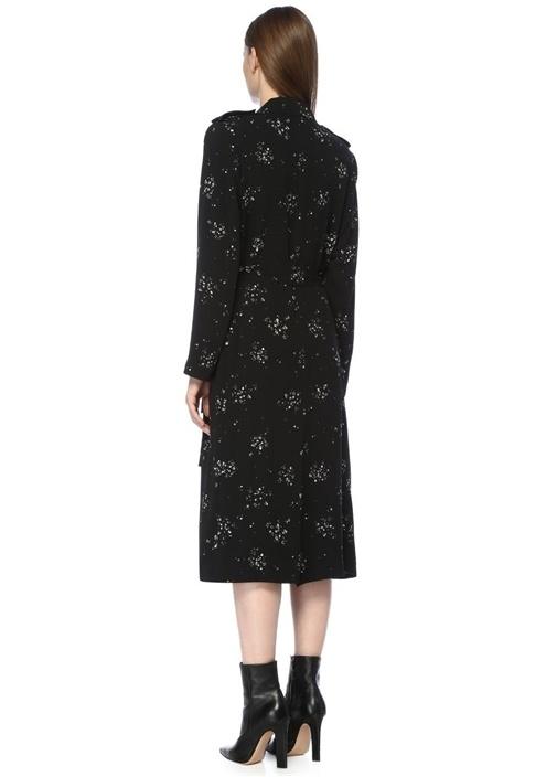 Siyah Şal Yaka Çiçek Desenli Krep Pardösü