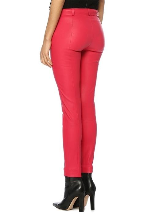 Pembe Normal Bel Paçası Fermuarlı Deri Pantolon