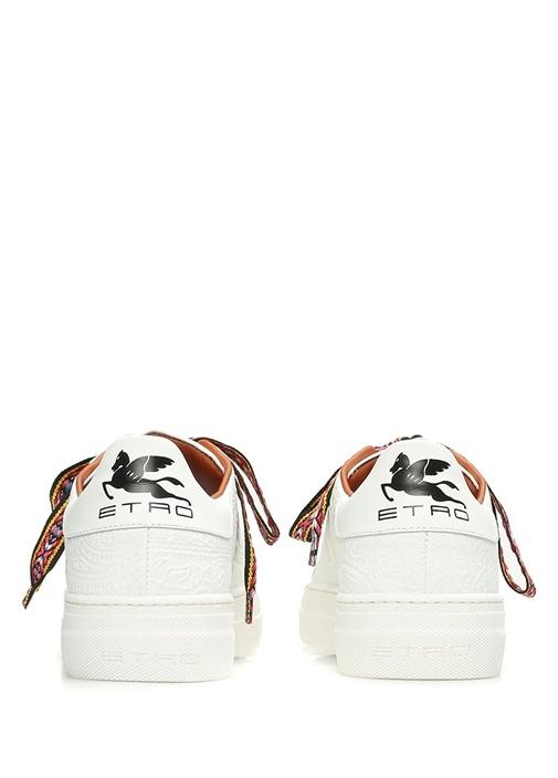 Beyaz Etnik Desen Dokulu Kadın Deri Sneaker