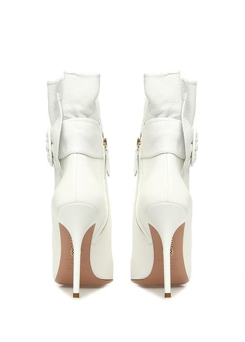 Palace 105 Beyaz Fırfırlı Kadın Deri Bot
