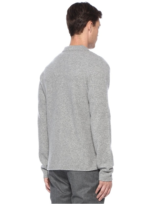 Gri İngiliz Yaka Yün Triko Gömlek