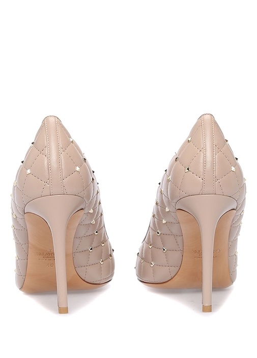 Pudra Rockstud Deri Topuklu Ayakkabı