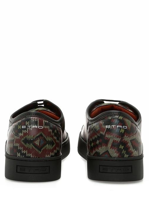Etnik Desenli Logo Nakışlı Erkek Deri Sneaker
