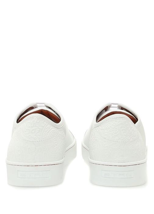 Beyaz Etnik Desen Detaylı Erkek Deri Sneaker