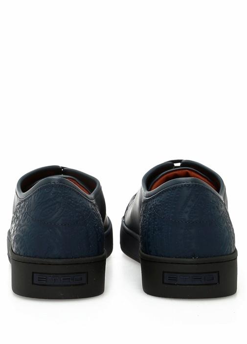 Lacivert Etnik Desen Detaylı Erkek DeriSneaker
