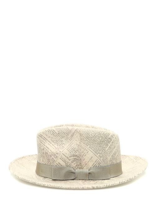 Bej Şal Desenli Bantlı Erkek Yün Şapka